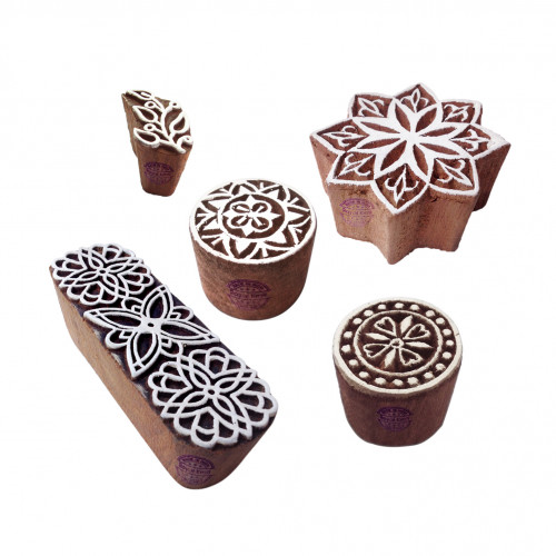 (Set of 5) Artisan Shapes Floral and Round Wood Block Print Stamps