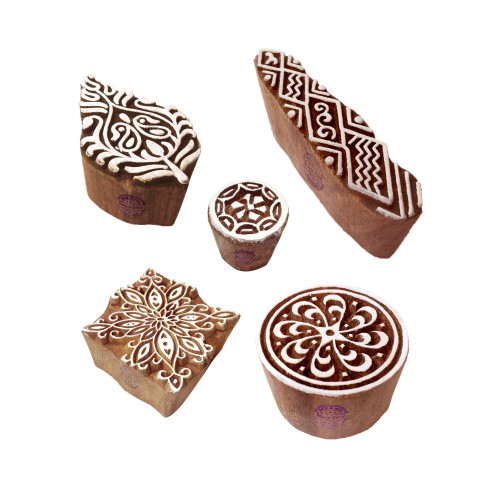 (Set of 5) Abstract Shapes Leaf and Assorted Wood Block Print Stamps