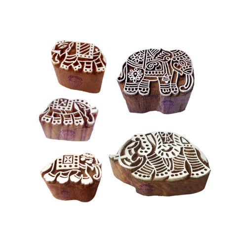 (Set of 5) Artisan Shapes Mix and Elephant Wood Block Print Stamps
