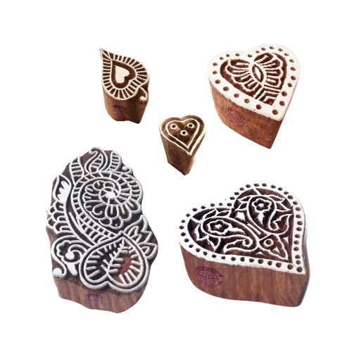 (Set of 5) Ethnic Shapes Leaf and Heart Wood Block Print Stamps