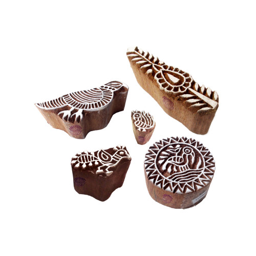 (Set of 5) Stylish Shapes Bird and Finger Wood Block Print Stamps