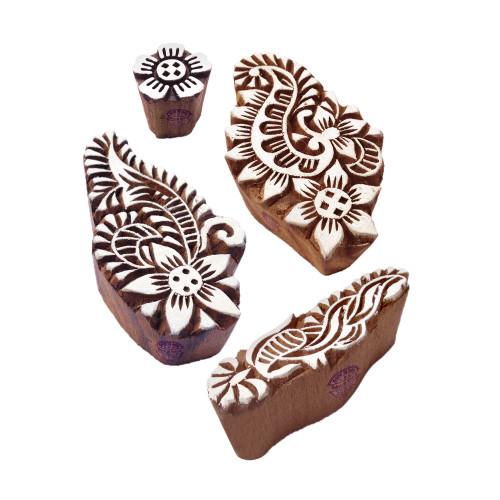 (Set of 4) Jaipuri Shapes Floral and Finger Wood Block Print Stamps