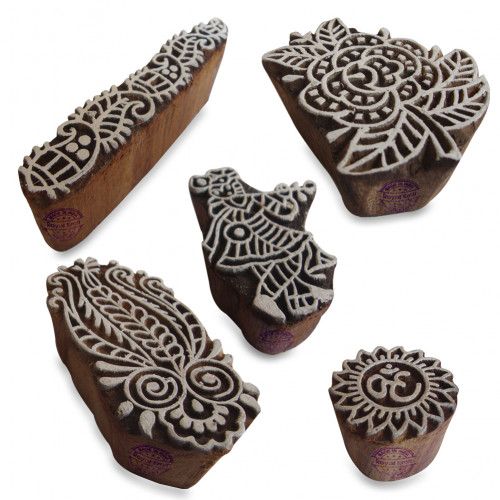 (Set of 5) Traditional Krishna and Floral Designs Wood Blocks for Printing