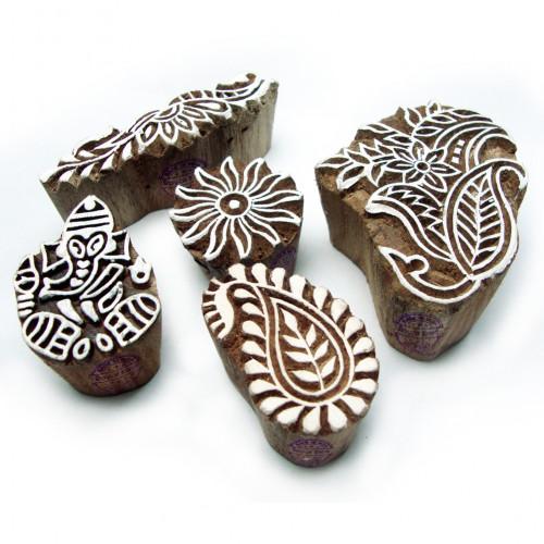 (Set of 5) Artistic Ganesha and Floral Designs Wood Blocks for Printing