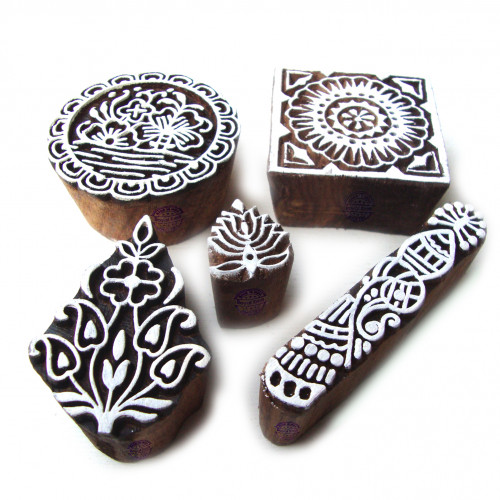 (Set of 5) Asian Square and Round Designs Wood Blocks for Printing