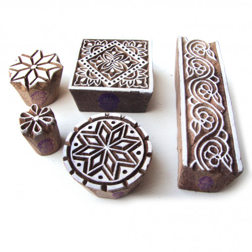 (Set of 5) Decorative Round and Square Designs Wood Blocks for Printing