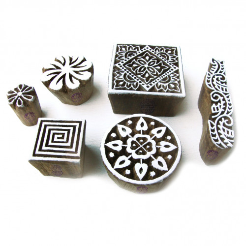 (Set of 6) Handmade Square and Round Designs Wood Blocks for Printing