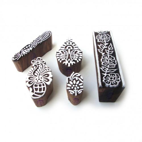 (Set of 5) Artistic Leaf and Floral Designs Wood Blocks for Printing