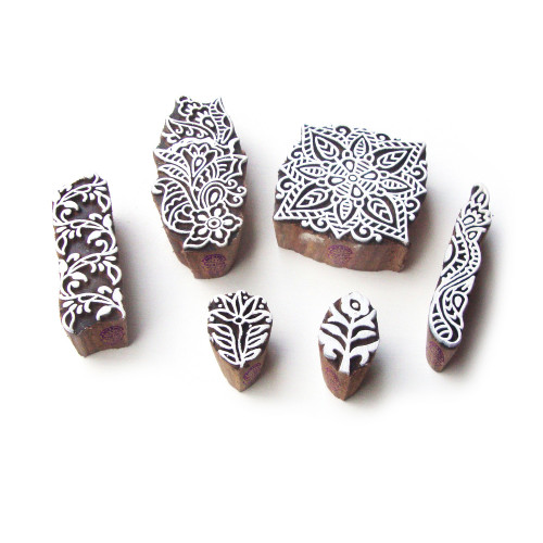(Set of 6) Square and Floral Handmade Designs Wood Blocks for Printing