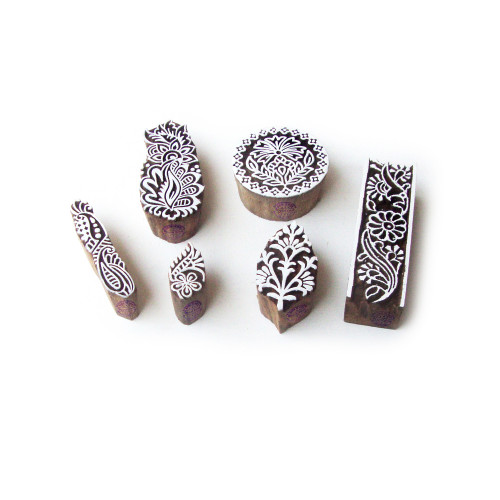 (Set of 6) Assorted and Floral Ethnic Designs Wood Blocks for Printing