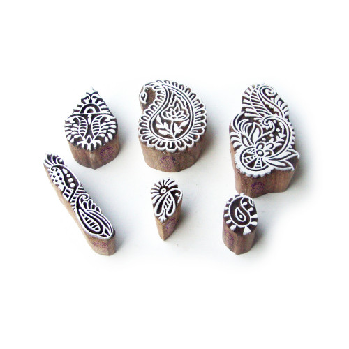 (Set of 6) Paisley and Floral Handmade Designs Wood Blocks for Printing