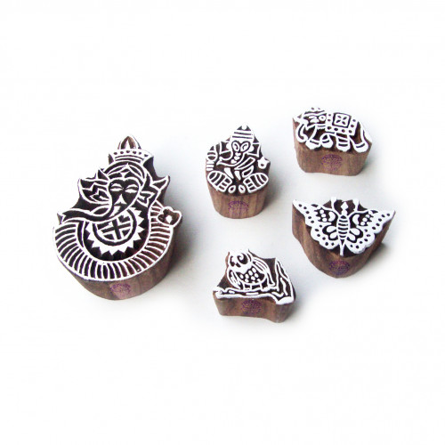 (Set of 5) Animal and Religious Hand Carved Designs Wood Blocks for Printing