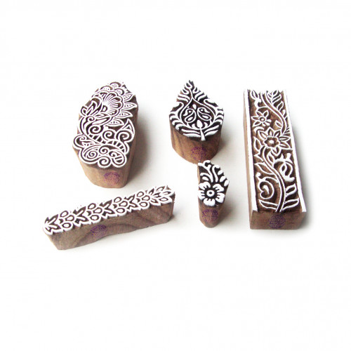(Set of 5) Assorted and Floral Artistic Designs Wood Blocks for Printing