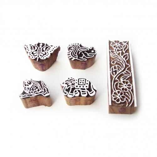 (Set of 5) Animal and Border Asian Designs Wood Blocks for Printing