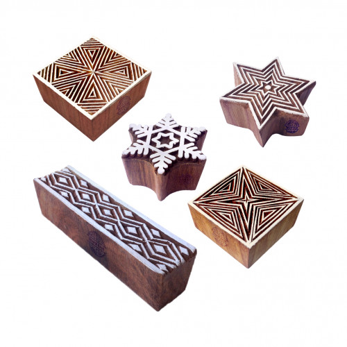 (Set of 5) Handmade Shapes Line and Snowflake Wood Blocks for Printing