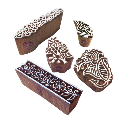 (Set of 5) Stylish Shapes Assorted and Floral Wood Blocks for Printing