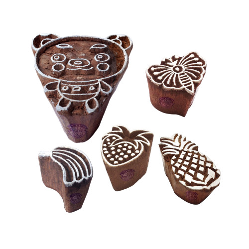 (Set of 5) Popular Shapes Butterfly and Fruit Wood Blocks for Printing