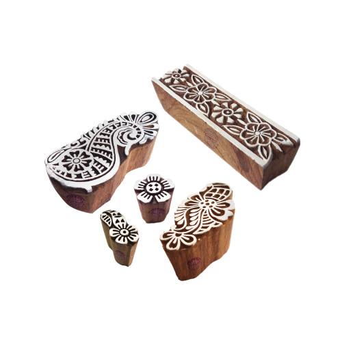 (Set of 5) Asian Shapes Mix and Border Wood Blocks for Printing