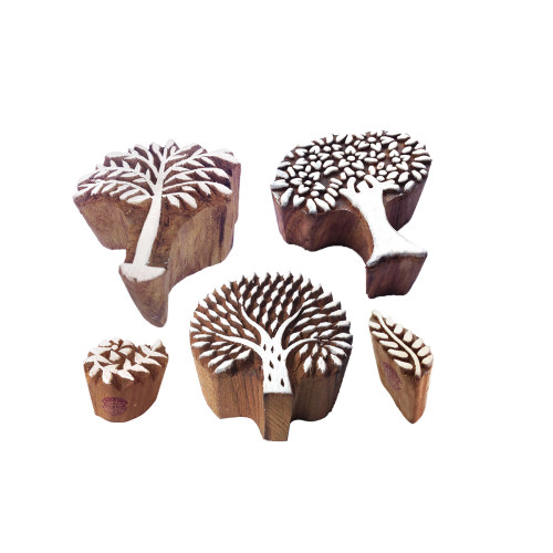 (Set of 5) Innovative Shapes Tree and Palm Leaf Wood Blocks for Printing