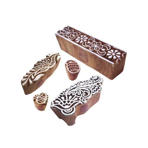 (Set of 5) Handmade Shapes Damask and Border Wood Blocks for Printing