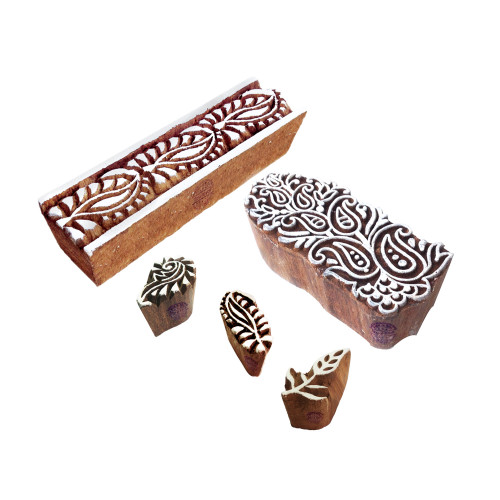 (Set of 5) Elegant Shapes Paisley and Leaf Wood Blocks for Printing