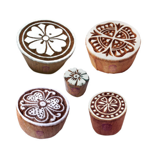(Set of 5) Popular Shapes Floral and Round Wood Blocks for Printing