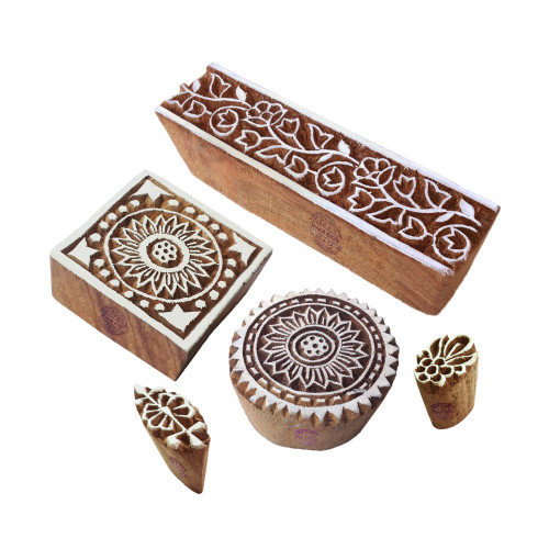(Set of 5) Handcrafted Shapes Floral and Border Wood Blocks for Printing
