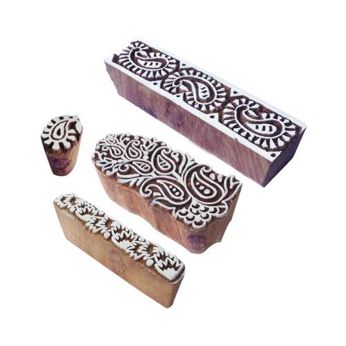 (Set of 4) Artisan Shapes Paisley and Border Wood Blocks for Printing