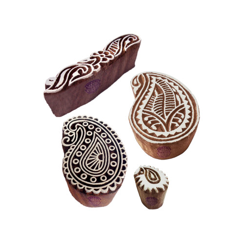 (Set of 4) Ethnic Shapes Finger and Paisley Wood Blocks for Printing