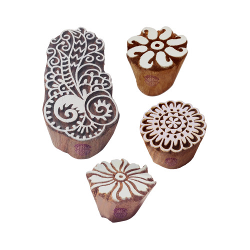 (Set of 4) Rural Shapes Round and Damask Wood Blocks for Printing