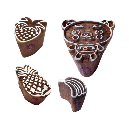 (Set of 4) Exquisite Shapes Fruit and Animal Wood Blocks for Printing