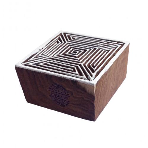 Jaipuri Square Geometric Shape Wood Print Textile Block