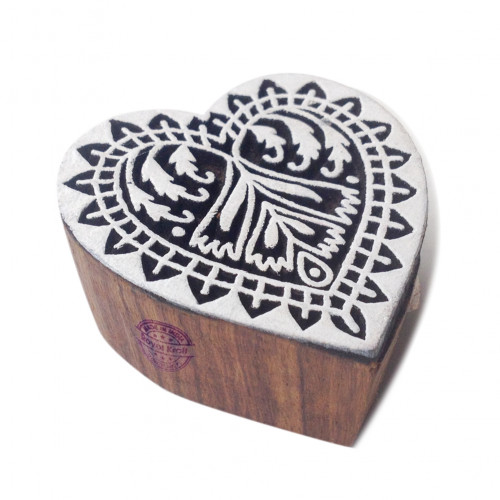 Innovative Floral Heart Shape Wood Print Textile Block