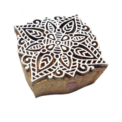 Designer Square Mandala Pattern Wood Print Textile Stamp
