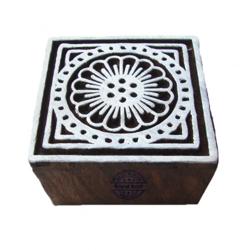 Ethnic Square Floral Design Wood Stamp for Printing