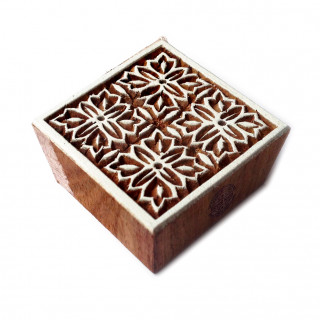 Rural Square Floral Design Wood Stamp for Printing