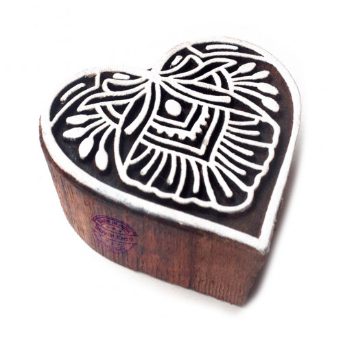 Retro Floral Heart Design Wood Stamp for Printing