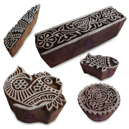 (Set of 5) Ethnic Fish and Floral Pattern Wood Stamps for Printing