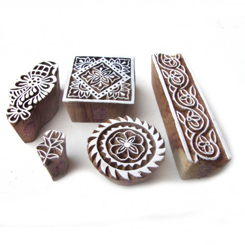 (Set of 5) Indian Floral and Assorted Pattern Wood Stamps for Printing