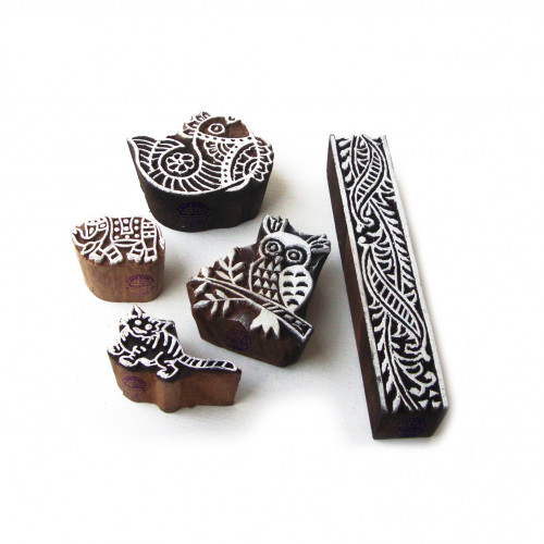 (Set of 5) Ethnic Owl and Fish Pattern Wood Stamps for Printing