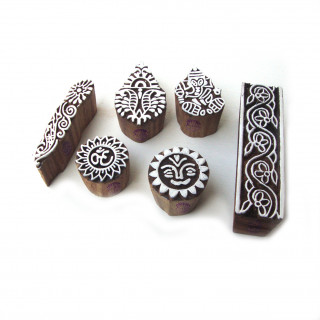 (Set of 6) Handmade Religious and Sun Pattern Wood Stamps for Printing