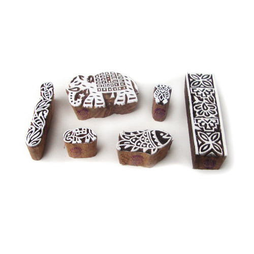 (Set of 6) Jaipuri Elephant and Fish Pattern Wood Stamps for Printing