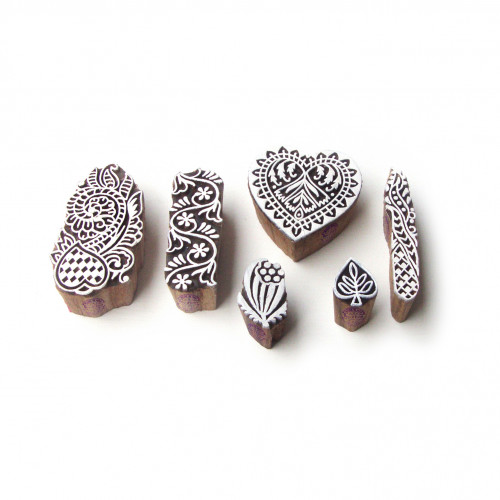 (Set of 6) Border and Heart Designer Pattern Wood Stamps for Printing