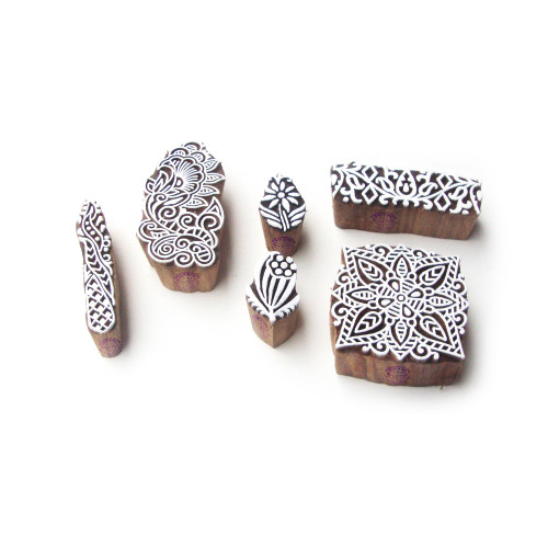 (Set of 6) Flower and Leaf Exclusive Pattern Wood Stamps for Printing