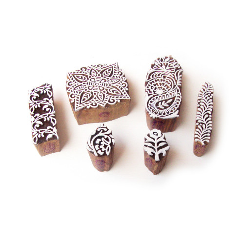 (Set of 6) Square and Floral Hand Carved Pattern Wood Stamps for Printing