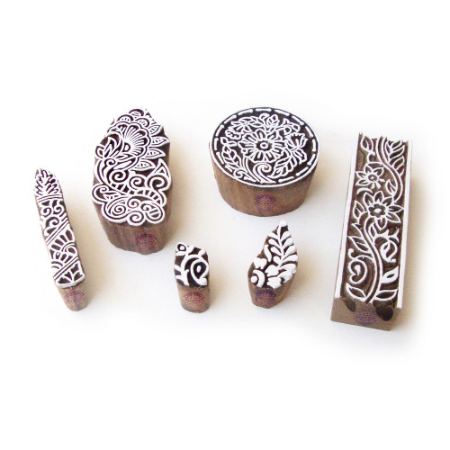 (Set of 6) Assorted and Floral Asian Pattern Wood Stamps for Printing