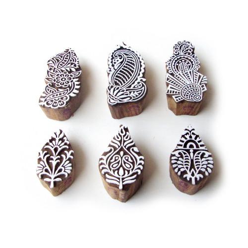 (Set of 6) Flower and Leaf Elegant Pattern Wood Stamps for Printing
