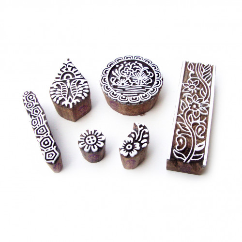 (Set of 6) Assorted and Floral Artistic Pattern Wood Stamps for Printing