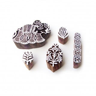 (Set of 5) Elephant and Floral Ethnic Pattern Wood Stamps for Printing