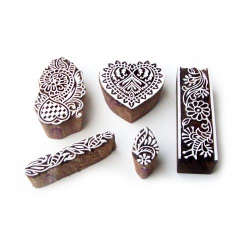 (Set of 5) Border and Heart Decorative Pattern Wood Stamps for Printing